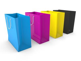 Shopping bags cmyk 3d render