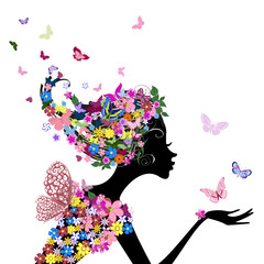 Poster Floral woman girl with flowers and butterflies