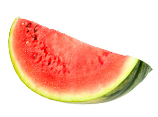 Single red slice of ripe watermelon