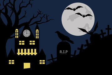 Halloween illustration of a house in cemetery