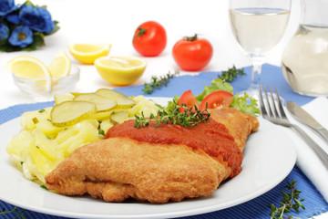 Backfisch Orly mit Kartoffelsalat