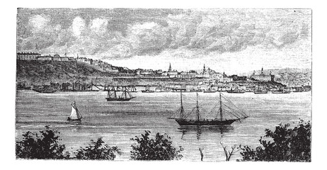 Quebec, Canada, in the 1800s,  vintage engraving.