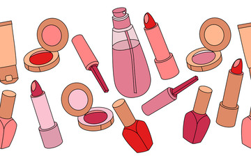 Various cosmetics in seamless border on white background
