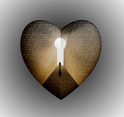 Man enter key heart