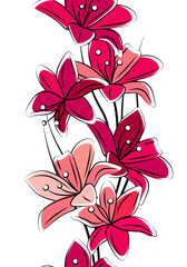 Seamless vertical border with red lilies on white