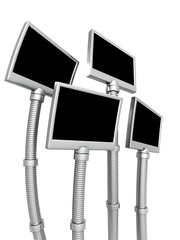 Futuristic photo frame stand isolated