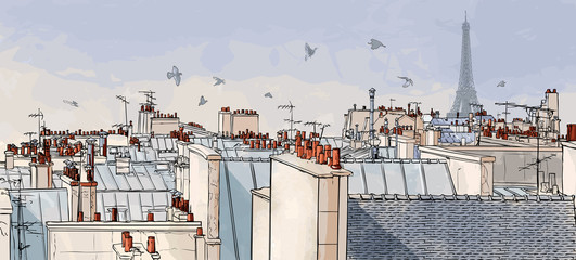 Poster de jardin Art Studio France - Paris roofs