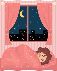 Pretty girl sleeps. vector