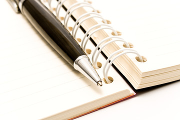 Close-up of pen and spiral agenda