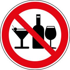 Verbotsschild Alkohol verboten Alkoholverbot Zeichen