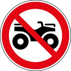 Fototapete - Verbotsschild Quad ATV Geländefahrzeuge verboten Zeichen