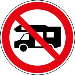 Fototapete - Verbotsschild Keine Wohnmobile Zeichen Symbol