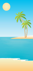 Tropical beach. vector, gradient