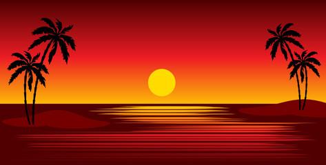 Tropical beach. vector, gradient