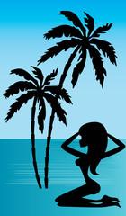 Tropical beach. Day. vector, gradient