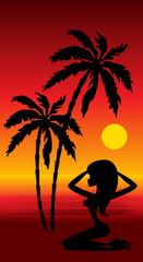 Tropical beach. Sunset. vector, gradient,