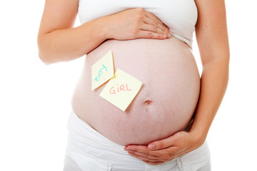Pregnant belly with sticky notes