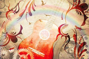 Retro guitar background illustration