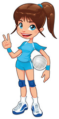 Young volleyball player. Vector isolated character.
