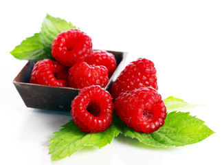 Close up of red raspberry