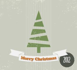 Simple vintage vector Christmas card