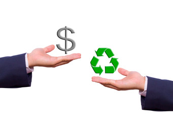 business man hand exchange dollar sign and recycle icon