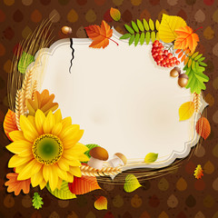 Wall Mural - Autumn vintage greeting card