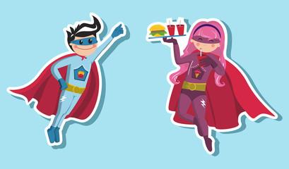Aluminium Prints Superheroes Superhero boys illustration
