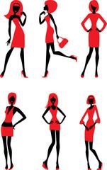 Female silhouettes. vector