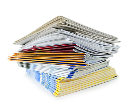 Stack of magazines and newspapers