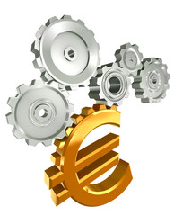 euro golden symbol and metal cogs