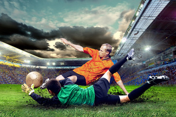 Photo sur Plexiglas Le football Football player on field of stadium