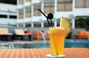 pineapple juice at swimming pool outdoor