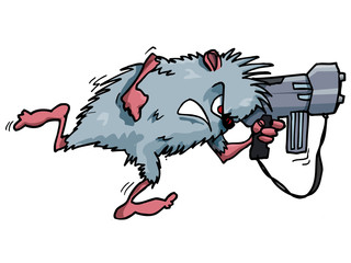 Cartoon rodent with a big gun
