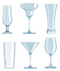 Set of transparent glasses goblets.