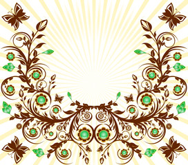 vector illustration of a floral ornament background with sun an