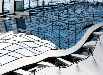 mosaic futuristic glass wall