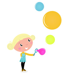Cute blond little Girl blowing colorful Soap Bubbles isolated on