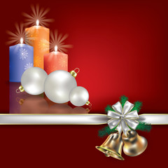 Christmas greeting with candles and white gift ribbons