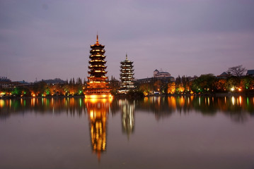 ancient tower night scape,guilin,china