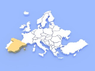 3d rendering of a map of Europe and Spain