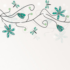 Whimsical background with flowers and dragonflies