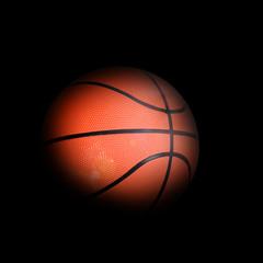 Basketball ball with dark edges on black background