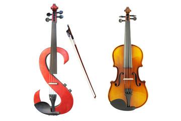 electric violin, violin and a fiddlestick