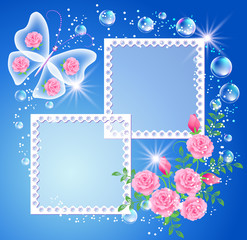 Background with photo frame and butterfly