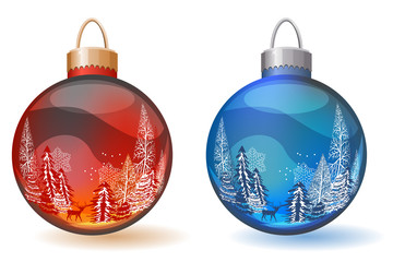 Two Christmas glass balls with winter landscape on them