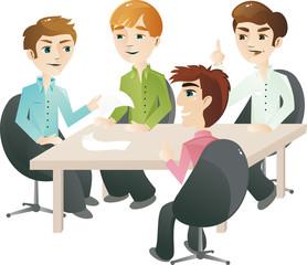 team working on business idea