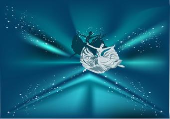 ballet dancer on blue background
