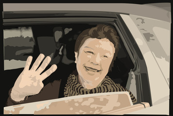 vector image of woman and car