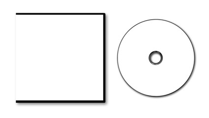 Blank white DVD case and disc on white background